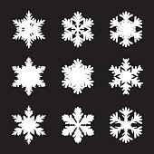 Set of white snowflakes. Graphic Elements.