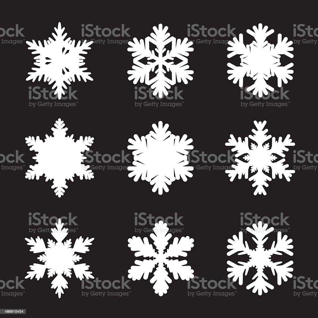 Set of white snowflakes vector art illustration