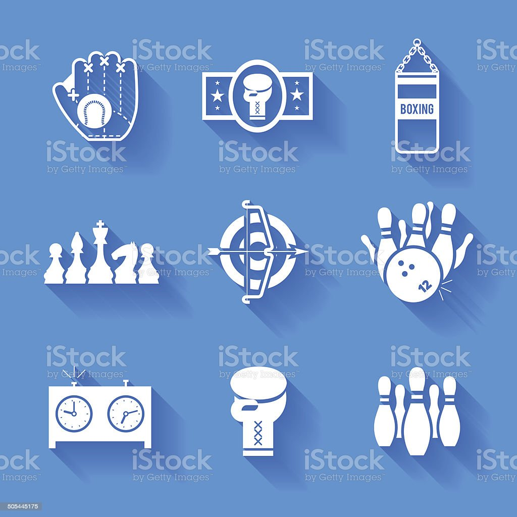 Set of white sports icons. vector art illustration