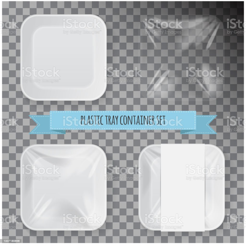 Set Of White Square Styrofoam Plastic Food Tray Container Vector ...
