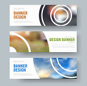 set of white standard banners with round design elements for the image. Web templates with text. Vertical illustration. Set