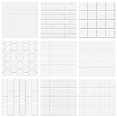 Set of white tiled texture, vector backgrounds. No gradient, no transparency.