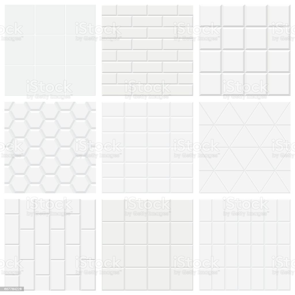 Set of white tiled texture, vector backgrounds. vector art illustration