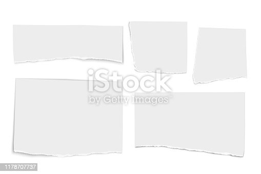 Set of white vector paper tears isolated on white background