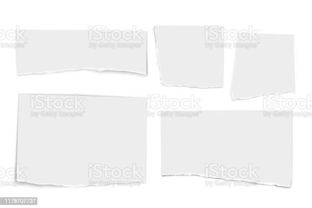 Ensemble De Larmes Blanches De Papier De Vecteur Disolement Sur Le Fond Blanc Vecteurs libres de droits et plus d'images vectorielles de Banderole - Signalisation