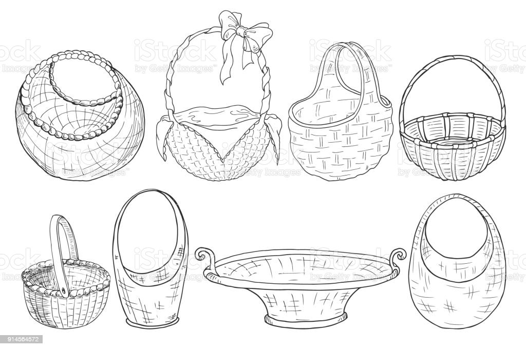 set of wicker baskets. Figure a liner. Hand drawing. Vector royalty-free set of wicker baskets figure a liner hand drawing vector stock illustration - download image now
