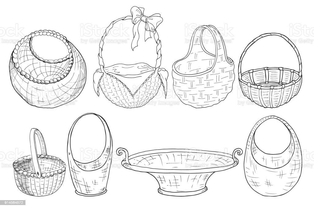 set of wicker baskets. Figure a liner. Hand drawing. Vector vector art illustration