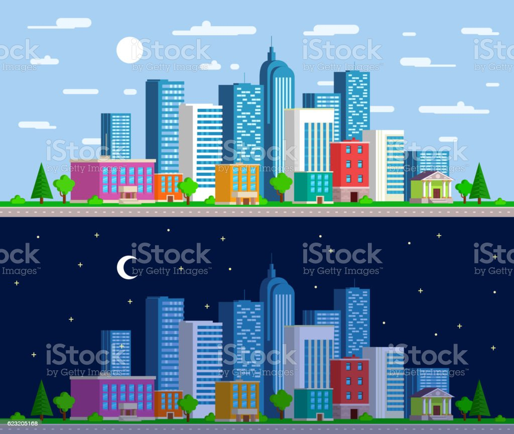 Set of wide panoramas  the urban landscape vector art illustration
