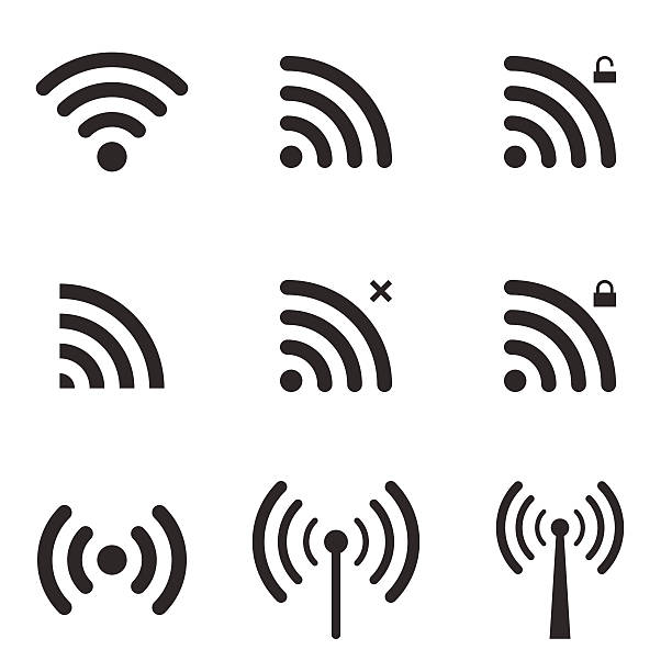 Set Of Wi-Fi And Wireless Icons. WiFi Zone Sign. Set Of Wi-Fi And Wireless Icons. WiFi Zone Sign. Remote Access And Radio Waves Communication Symbols. Vector. tower stock illustrations