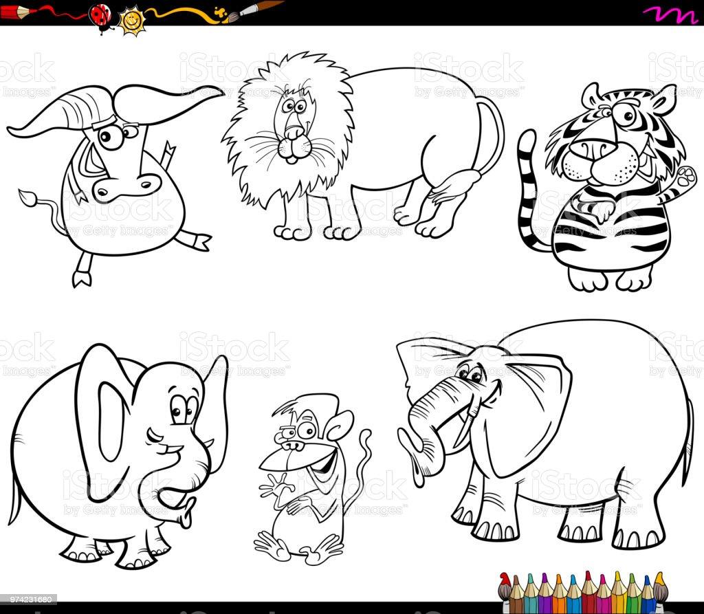 Boyama Kitabı Vahşi Hayvan Karakter Kümesi Stok Vektör Sanatı