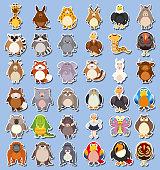 Set of wild animal sticker illustration