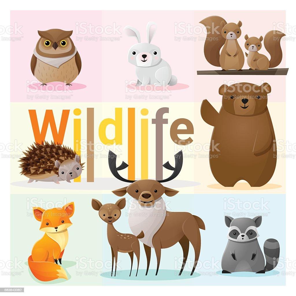 Set of Wild animals 2 vector art illustration