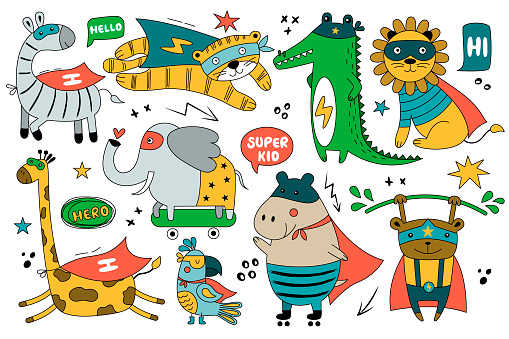 Set of wild animals in funny comics costume. Cute superheroes.