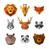 Vector set of different wild animals in low poly style. Animal icon collection isolated on a white background