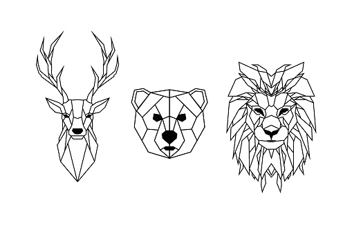 Set of wild animals in low poly style. Animal icon collection