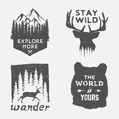 set of wilderness hand drawn typography posters and emblems