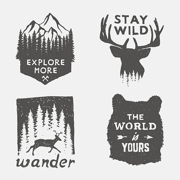 set of wilderness hand drawn typography posters and emblems - deer antlers stock illustrations, clip art, cartoons, & icons