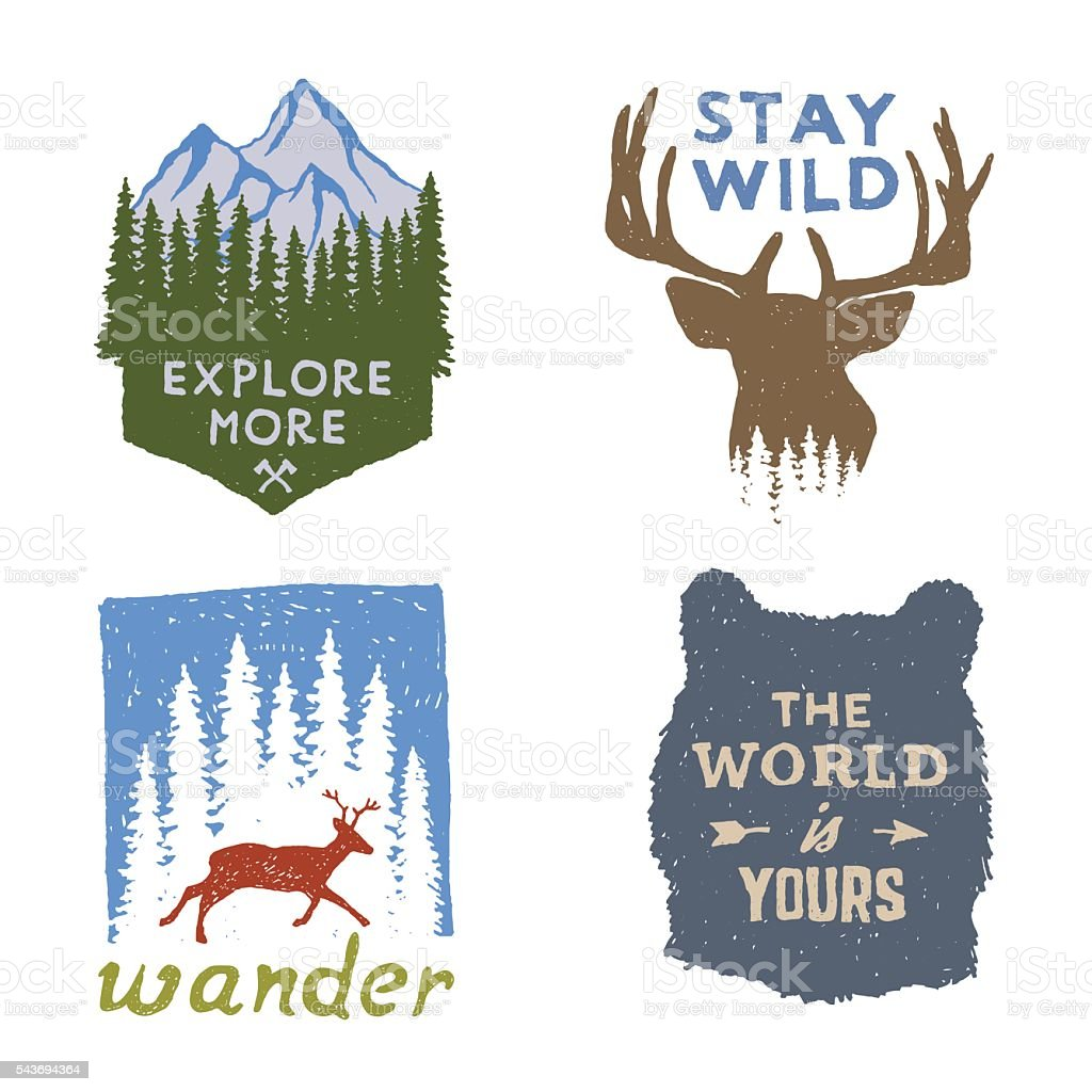 set of wilderness hand drawn typography posters and emblems vector art illustration