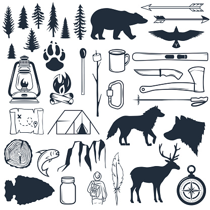 Set of wilderness silhouettes. Hand drawn camping and hiking elements. Collection for summer camp outdoors. Labels, emblems, logos, badges. Travel and recreation in outdoor camp
