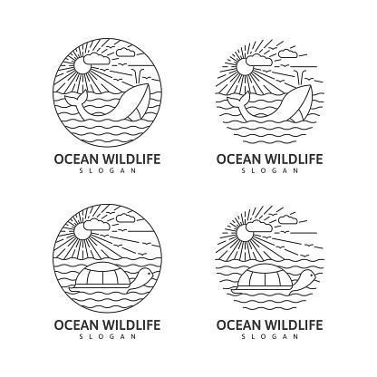 Set of wildlife whale ocean monoline or line art style vector