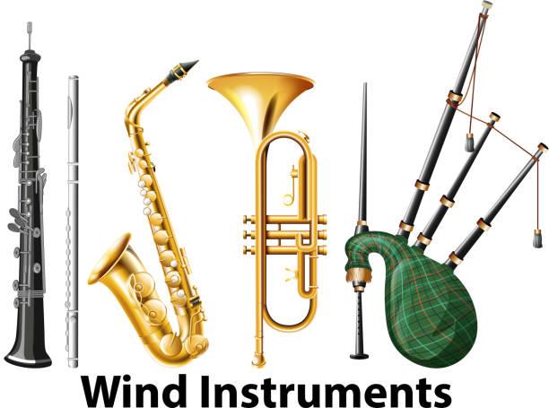 stockillustraties, clipart, cartoons en iconen met set van blaasinstrumenten - tenor
