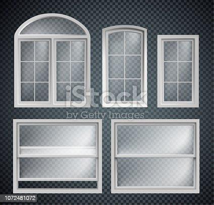 set of window frames showcase isolated on transparent background