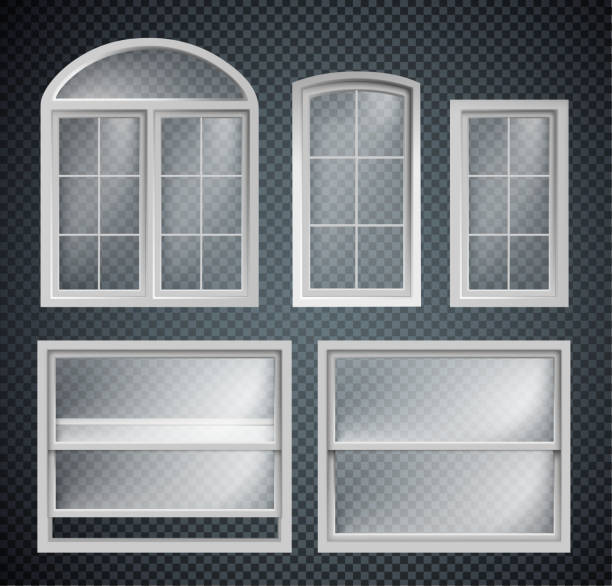 ilustrações de stock, clip art, desenhos animados e ícones de set of window frames showcase isolated on transparent background - janela