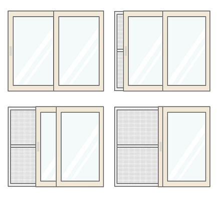 A set of windows and screens for ventilation