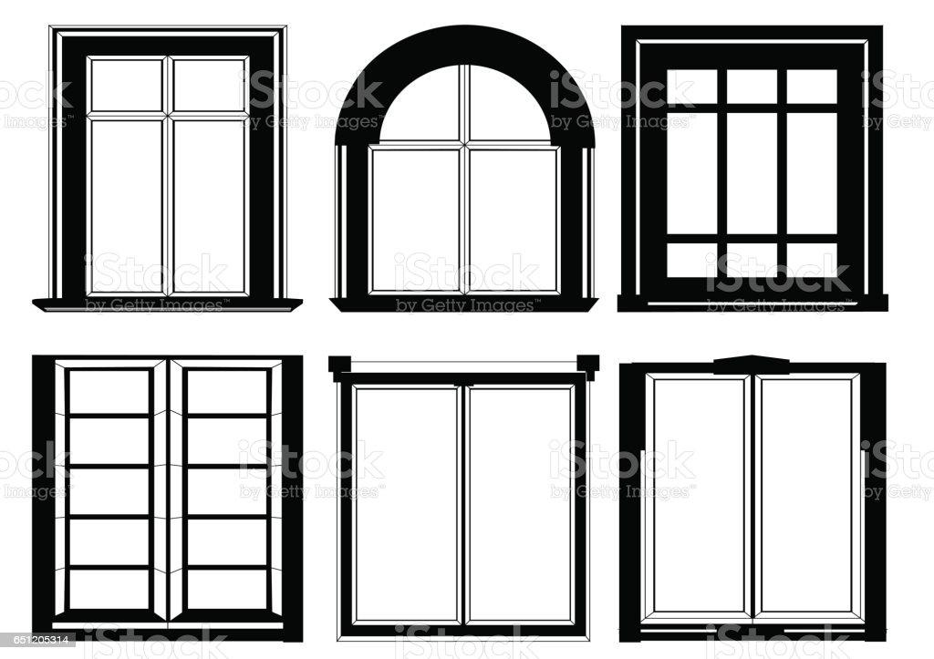 set of windows in black color vector art illustration