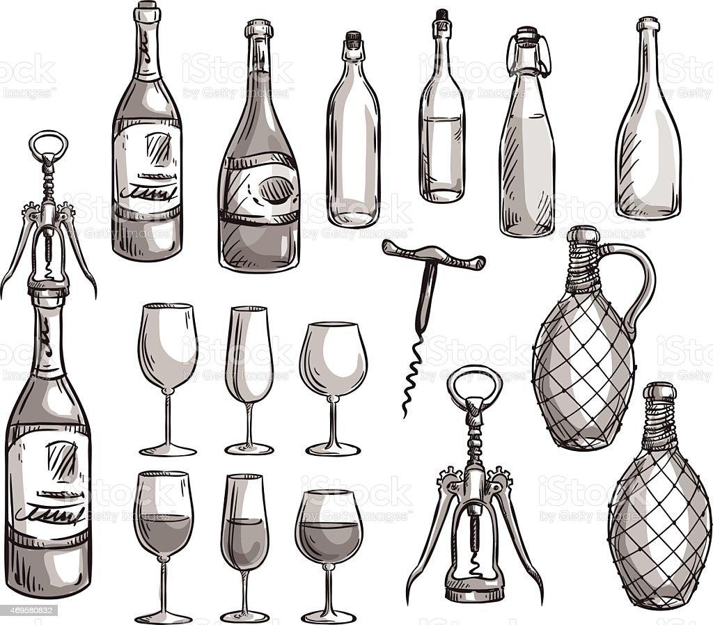 Set of wine bottles, glasses and corkscrews vector art illustration