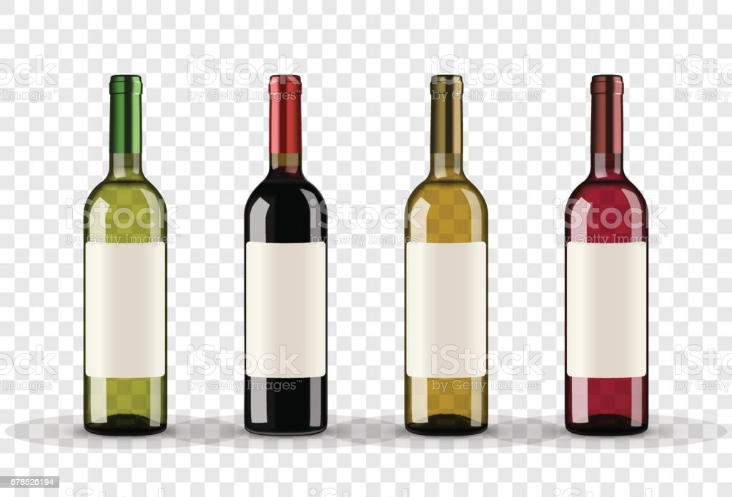 Set of wine bottles isolated on transparent background vector art illustration