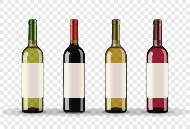 set of wine bottles isolated on transparent background - alcohol drink silhouettes stock illustrations