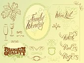 Set of wine design elements for bar or restaurant