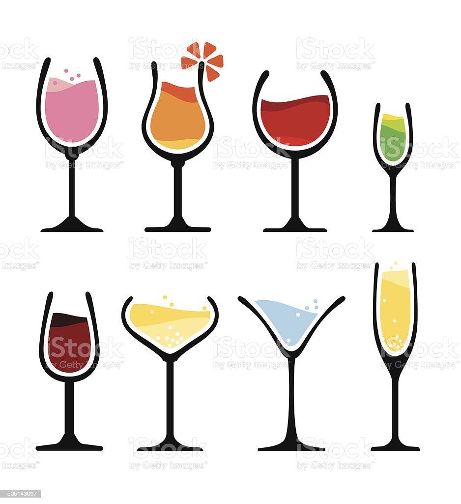 set of wine glass vector art illustration