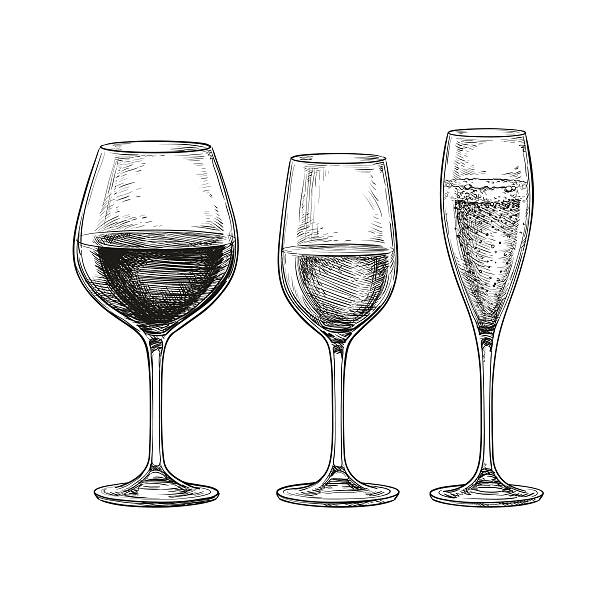 set of wine glasses. - champagnerglas stock-grafiken, -clipart, -cartoons und -symbole