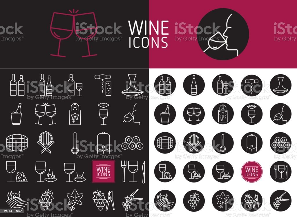Set of wine icons for web and designs vector art illustration