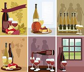 Set of Wine Illustrations posters. Some have foods and drinks for a wine and cheese party, others have wine bottle with people silhouettes in the background and one has a wine bottle and glass in front of a window.