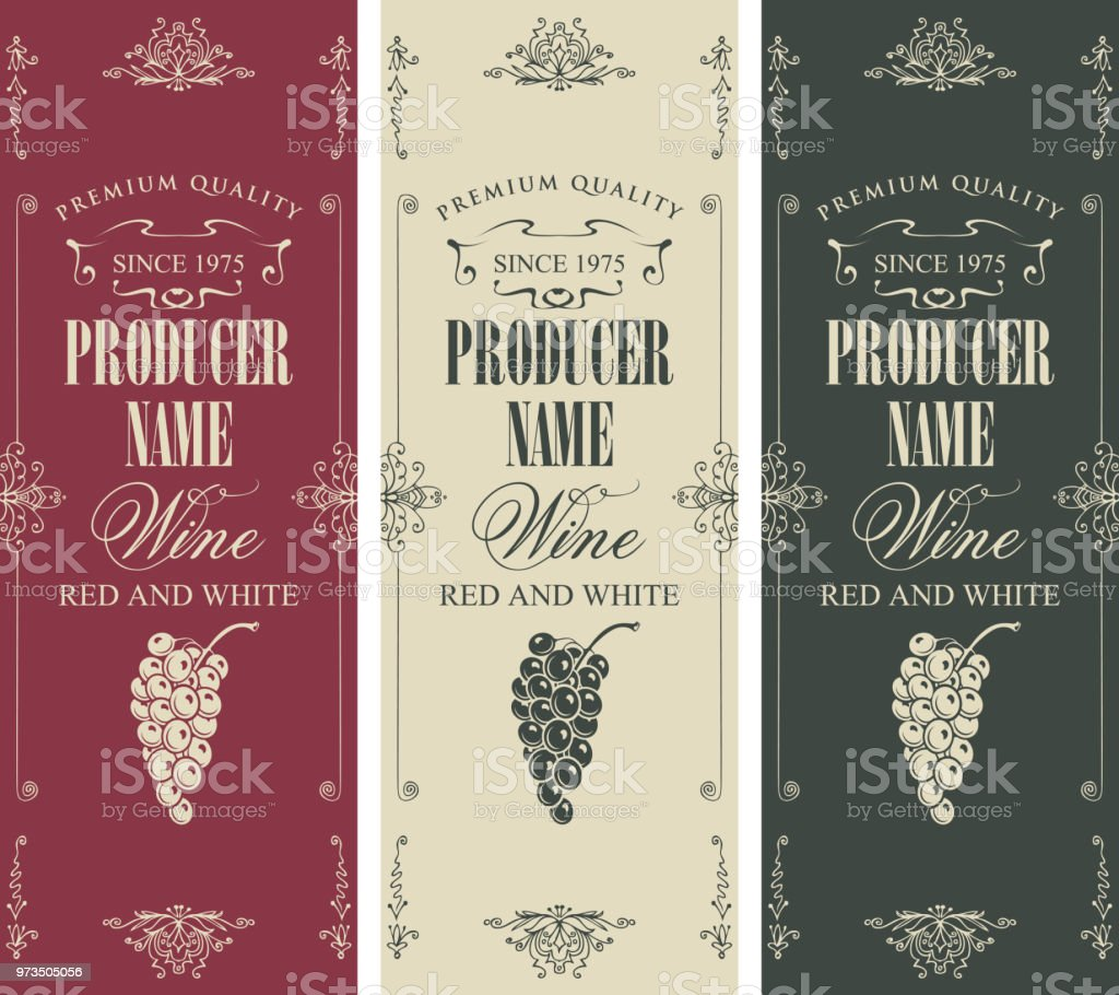 Set Of Wine Label With Bunches Of Grapes Stock