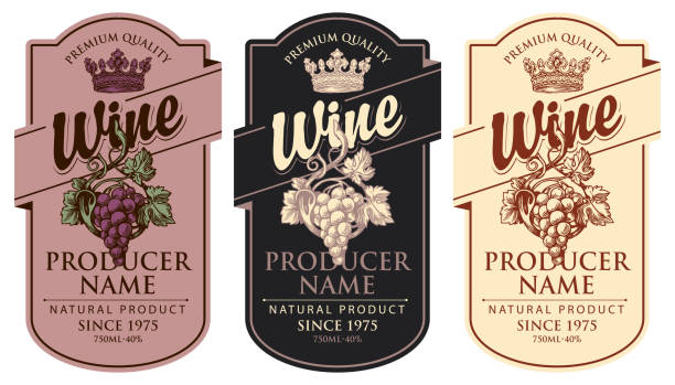 set of wine labels with grape bunches and crowns Set of three vector wine labels with hand-drawn bunches of grapes, crowns and calligraphic inscriptions in retro style in figured frames wine stock illustrations