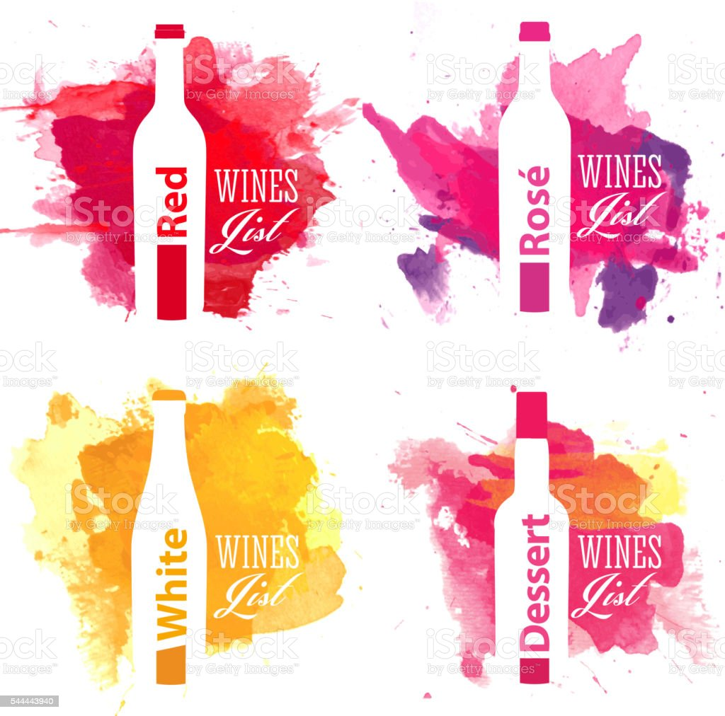 Set of wine list covers with watercolor background vector art illustration