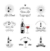 Wine List. Bottle And Glass. Set of wine signs, badges and labels
