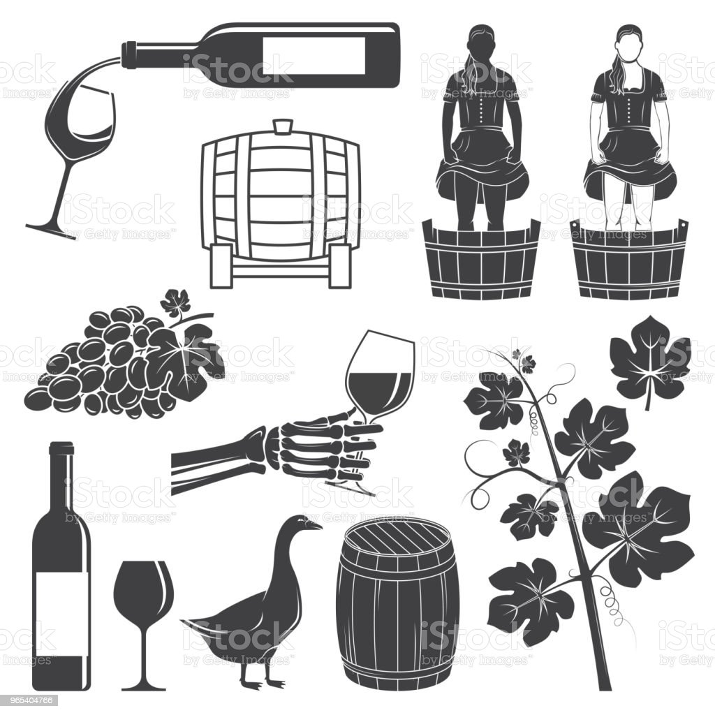 Ensemble d'icônes de vin silhouette. Illustration vectorielle - clipart vectoriel de Affaires libre de droits