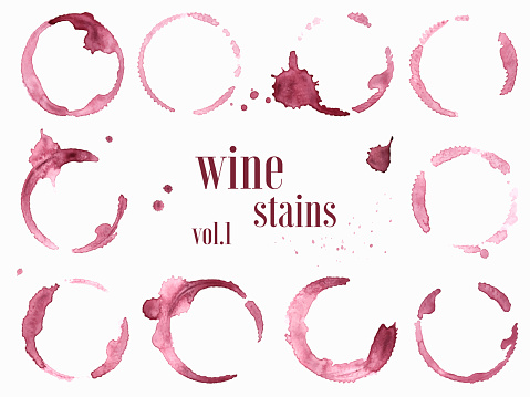 Set of wine stains and splatters isolated on white background. Vector illustration.