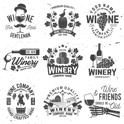 Set Of Winer Company Badge Sign Or Label Vector Illustration Stock Illustration - Download Image Now
