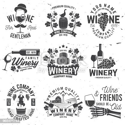 Set Of Winer Company Badge Sign Or Label Vector Illustration Stock Vector Art & More Images of Agriculture 965401744