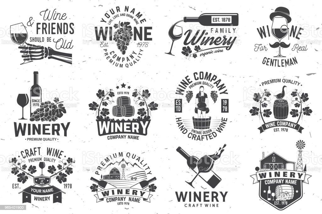 Jeu d'insigne compagnie winer, signe ou étiquette. Illustration vectorielle - clipart vectoriel de Agriculture libre de droits