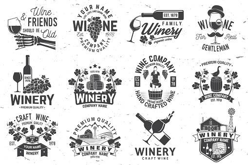 Jeu Dinsigne Compagnie Winer Signe Ou Étiquette Illustration Vectorielle Vecteurs libres de droits et plus d'images vectorielles de Agriculture