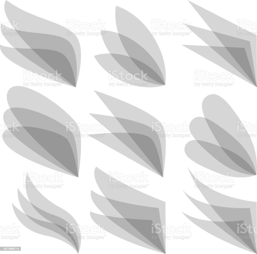 Set of wing logo for business identity. Vector vector art illustration