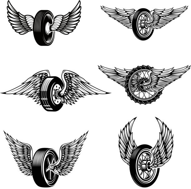 illustrations, cliparts, dessins animés et icônes de ensemble de pneus de voiture ailé sur fond blanc. éléments de conception d'étiquette, emblème, signe. illustration vectorielle - tatouages ailes