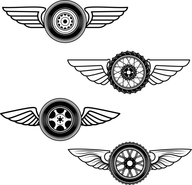 set of winged wheels. design element for label, emblem, sign. - animal limb stock illustrations
